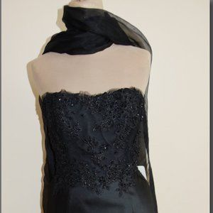 New embroidered black evening gown by LianCarlo